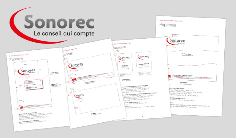 Conception et réalisation de plaquette et carte de visite pour Sonorec