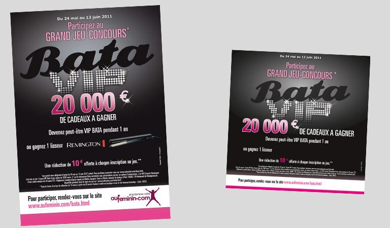 Conception graphique d'affiche, flyers et PLV pour Bata