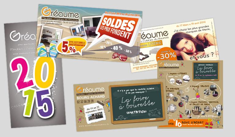 Réalisations et routages des supports de promotion des Meubles & Cuisines du Roumois