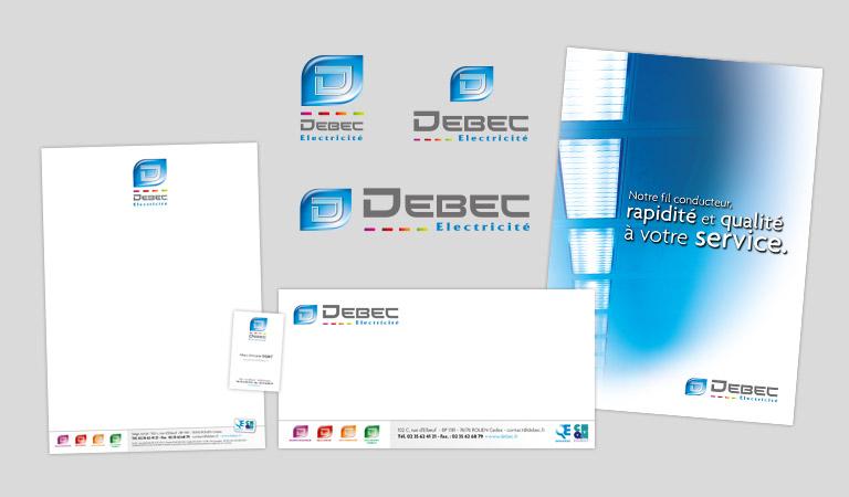 Supports visuels et internet pour Debec Electricité